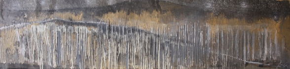"Ridgeline oil, acrylic, graphite, soil, plaster on wood (12""x48"") J Mason"